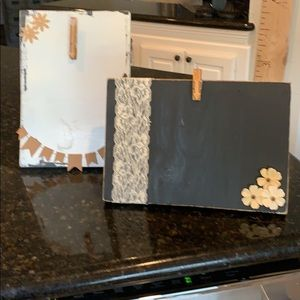Set of 2 decorated wooden clip boards.